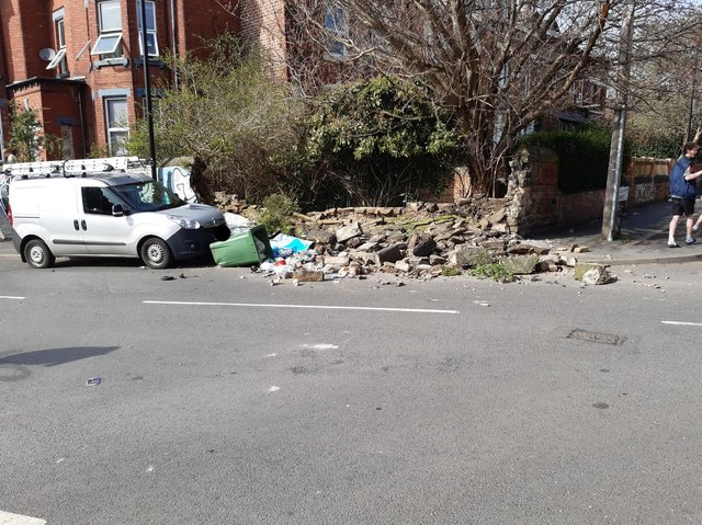 The collapsed wall in Brudenell Road.