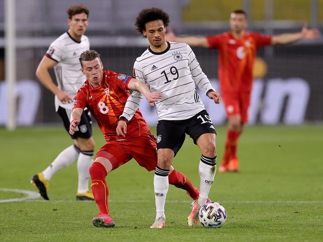 SHOCK RESULT - Gjanni Alioski and North Macedonia overcame Germany 2-1 in World Cup Qualifying, despite the Leeds United man giving away a penalty for a foul on Leroy Sane. Pic: Getty