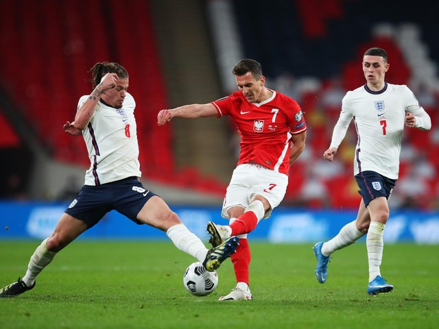 KEY STABILITY - England boss Gareth Southgate said Leeds United midfielder Kalvin Phillips and West Ham's Declan Rice gave England stability in front of the defence against Poland. Pic: Getty