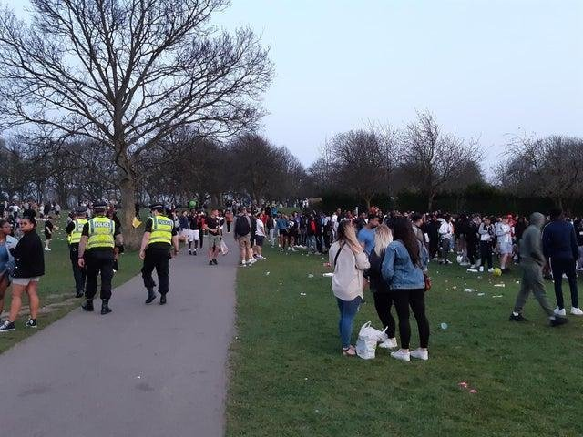 Woodhouse Moor on Wednesday evening as people gathered to soak up the sun