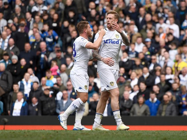 FLASHPOINT: Pontus Jansson, right, with Gaetano Berardi during the heated 1-1 draw against Aston Villa at Elland Road of April 2019. Photo by George Wood/Getty Images.