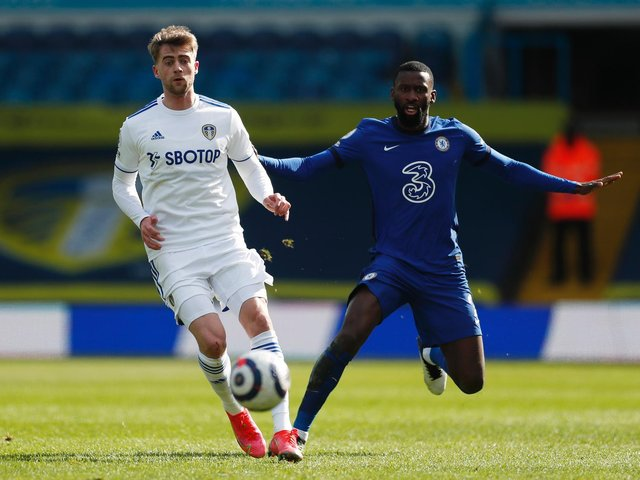 BACK IN BUSINESS: Leeds United striker Patrick Bamford, left, pictured battling it out with Antonio Rudiger in last month's goalless draw against Chelsea at Elland Road. Photo by Lee Smith - Pool/Getty Images.