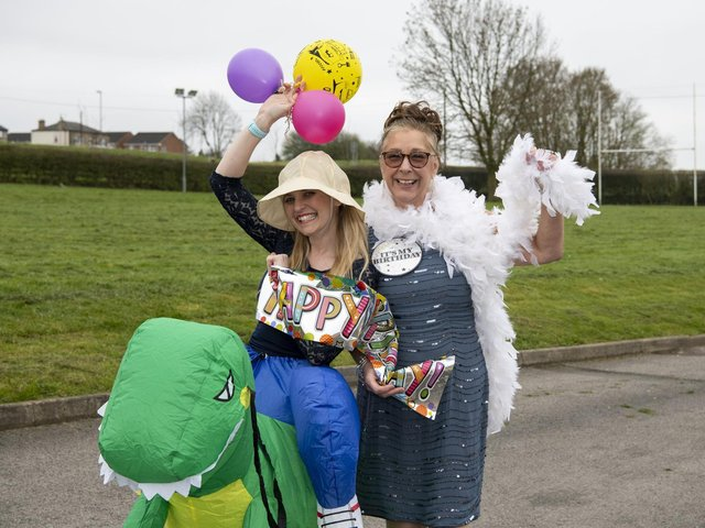 Deputy head Nicola Abidi with head Sue Jackson in the groove at the  'Big Drighlington Primary Birthday Celebration as a well-being activity to make up for all the birthdays that children and adults have missed out on over the last year.