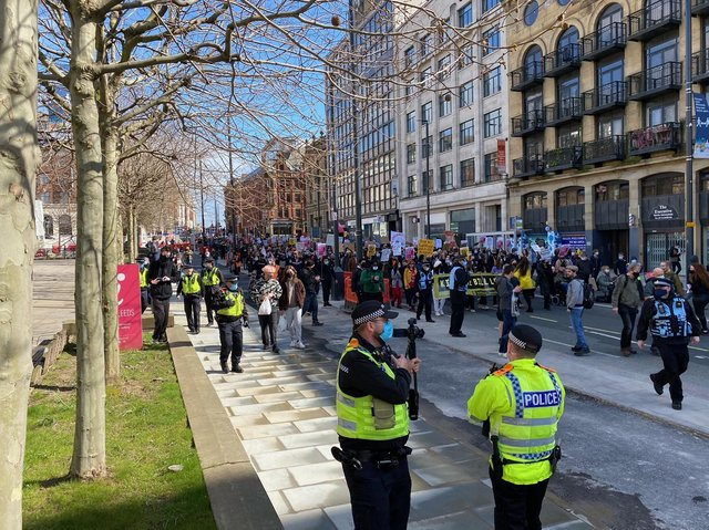 Protesters marched through Leeds city centre