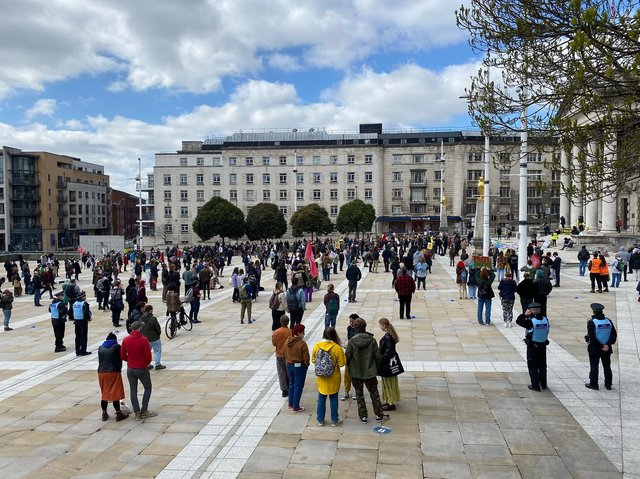 Around 400 protesters gathered in Millennium Square before marching through Leeds