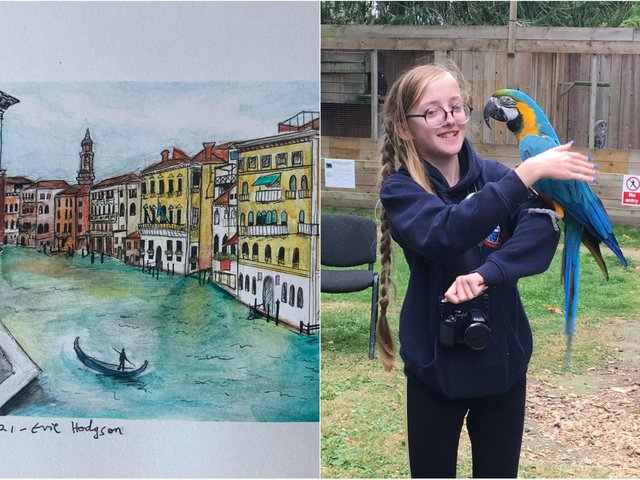 Left: The picture painted of Venice by Evie and, right, Evie Hodgson