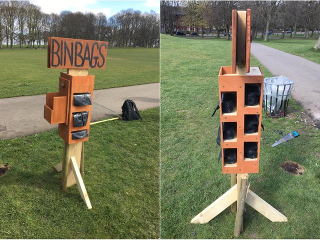 A Leeds Beckett University student has invented a genius way to provide bin bags at Woodhouse Moor