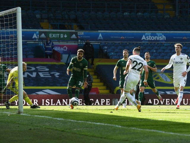 SIMPLE: Leeds United take the lead through Jack Harrison's easy finish. Picture by Jonathan Gawthorpe.