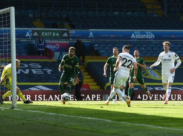 Leeds United's Jack Harrison opens the scoring at Elland Road. Pic: Jonathan Gawthorpe