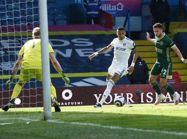 THE ASSIST - Raphinha put Jack Harrison's goal on a plate in Leeds United's 2-1 win over Sheffield United. Pic: Jonathan Gawthorpe