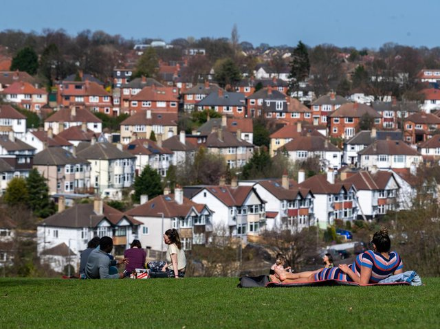 People enjoying the sun at Chapel Allerton Park in Leeds