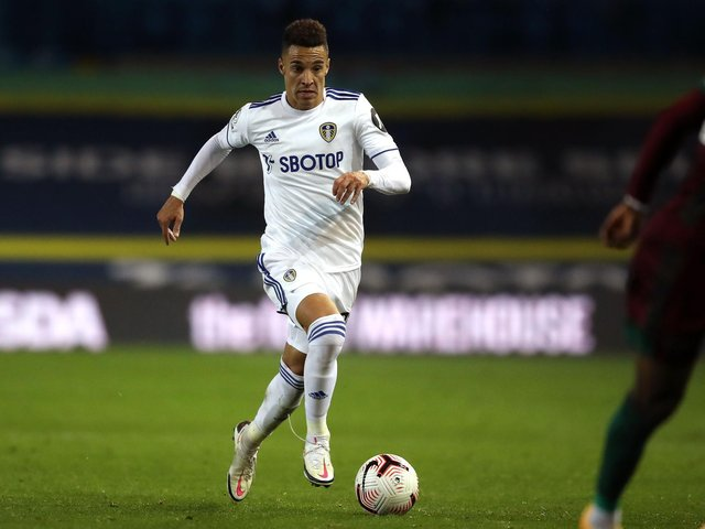 SUPPORT: For Leeds United's record signing Rodrigo, above, from Leeds United head coach Marcelo Bielsa. Photo by MARTIN RICKETT/POOL/AFP via Getty Images.