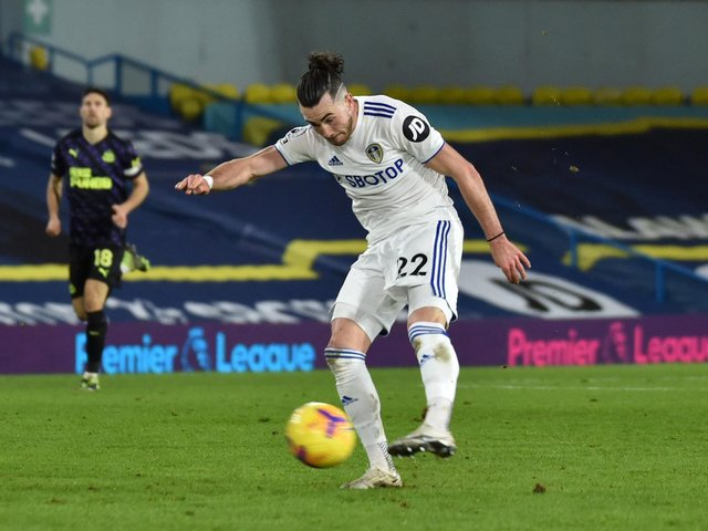 ROCKET: Leeds United winger Jack Harrison has six goals for the current campaign including a bullet of a strike in December's 5-2 success at home to Newcastle United, above. Photo by PAUL ELLIS/POOL/AFP via Getty Images.