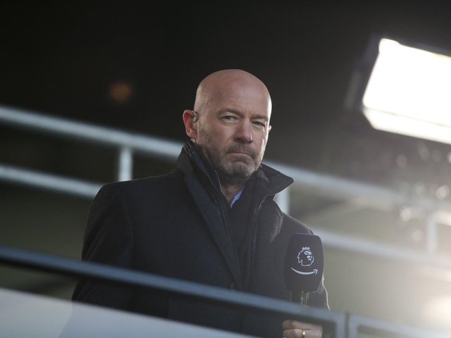 IMPRESSED: Alan Shearer during Saturday's coverage of the Yorkshire derby between Leeds United and Sheffield United at Elland Road for Amazon Prime Video. Photo by LINDSEY PARNABY/POOL/AFP via Getty Images.