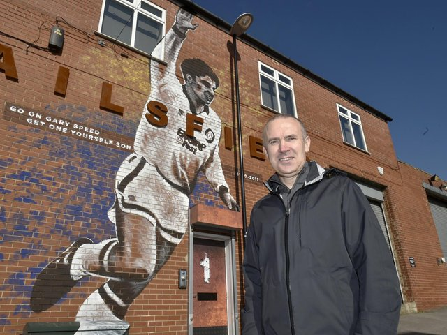 GLOWING TRIBUTE: From former Leeds United left back Tony Dorigo, pictured in front of the giant Gary Speed mural in Bramley. Picture by Steve Riding.