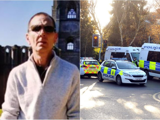 Left: Missing Ian Kowalczyk. Police have found a body in their search for the man who went missing from Pudsey. Right: Stock image of West Yorkshire Police