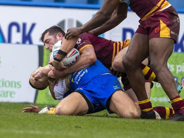 Ash Hanldey's knee injury, suffered in a pre-season game at Huddersfield, was a blow for Rhinos. PIcture by Tony Johnson.