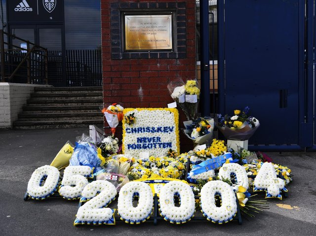 Flowers and tributes were left at Elland Road on Saturday by fans and players. Pic: Jonathan Gawthorpe