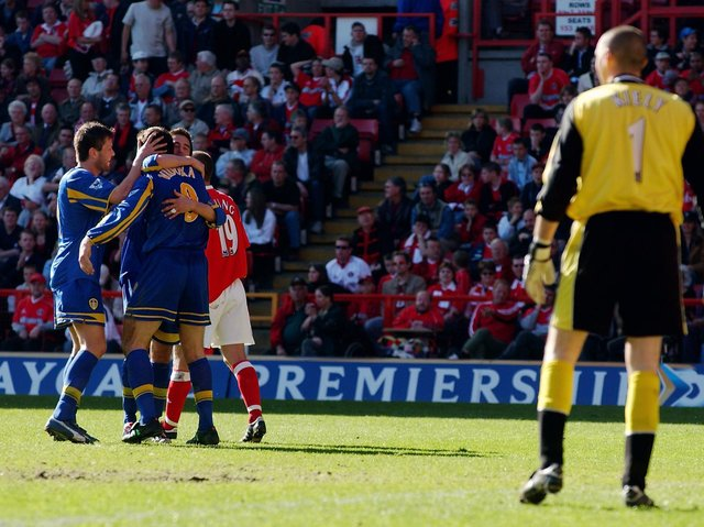 Leeds United celebrate at Charlton Athletic in 2003. Pic: Getty