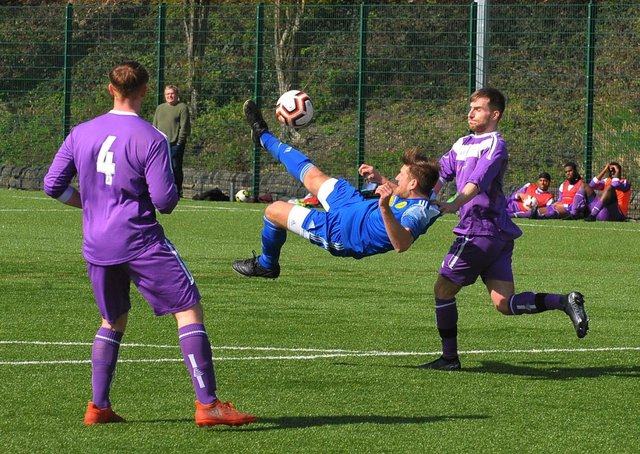 Damir Maldovic is wide with his overhead kick for Horsforth St Margaret's against Leeds Medics & Dentists. Picture: Steve Riding.