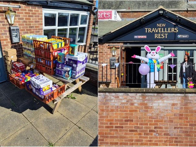 Staff at The New Travellers Rest gave out 350 free Easter eggs.