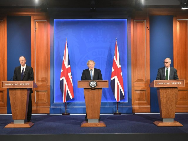 Chief Medical Officer Professor Chris Witty, Prime Minister Boris Johnson and Chief scientific adviser Sir Patrick Vallance, during a media briefing in Downing Street, London, on coronavirus (photo: PA).