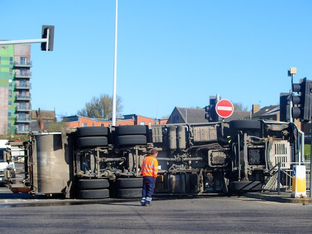 The overturned lorry (photo: Danny Lawson / PA Wire).