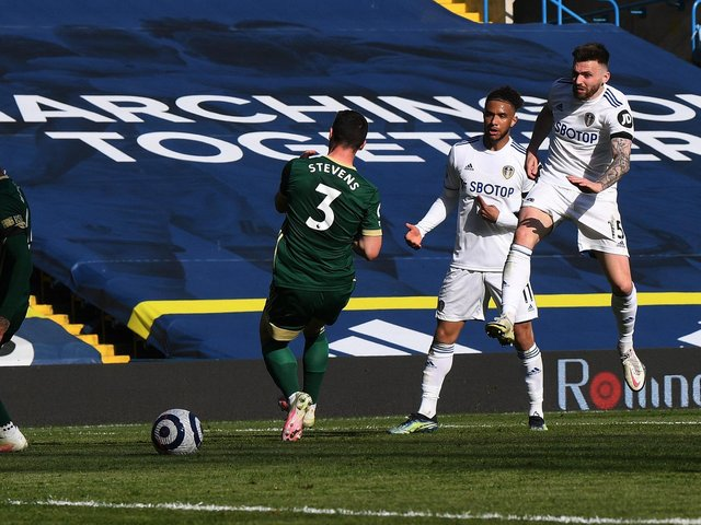 Leeds United's Stuart Dallas shoots at goal against Sheffield United. Pic: Jonathan Gawthorpe