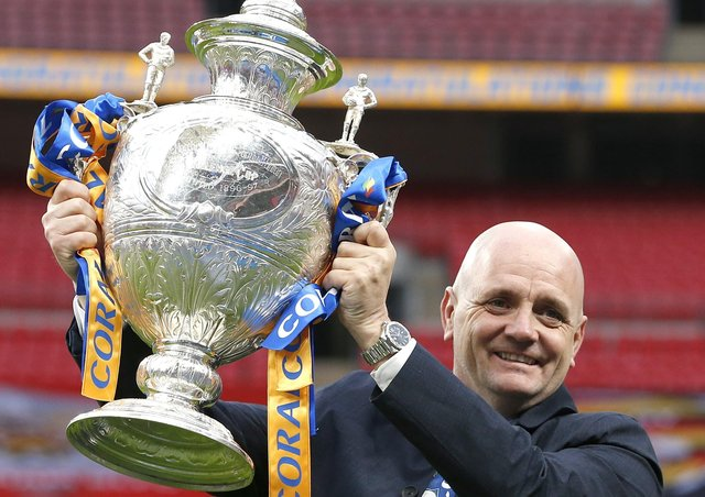 Richard Agar, pictured with the Challenge Cup after last year's final victory over Salford. Picture: Ed Sykes/SWpix.com.
