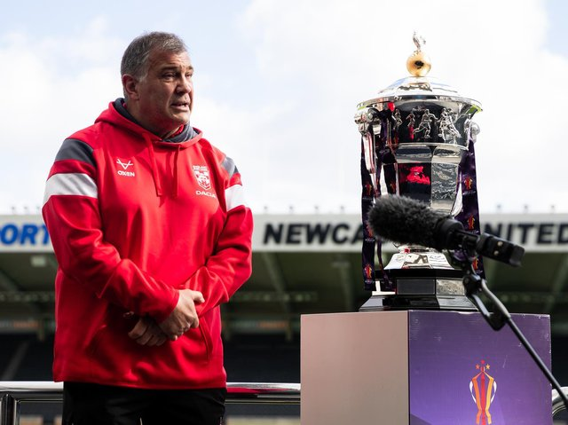 England coach Shaun Wane with the World Cup at Newcastle's St James's Park where the opening game will be played in 199 days' time. Picture by SWpix.com.