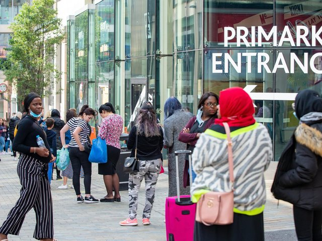Queues outside Trinity Leeds Primark when shops reopened in 2020 following the first lockdown.