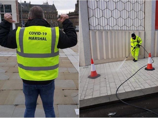 A Covid marhsal and a street cleaner in Leeds (photo: @Leeds_City_Ctr / Twitter).