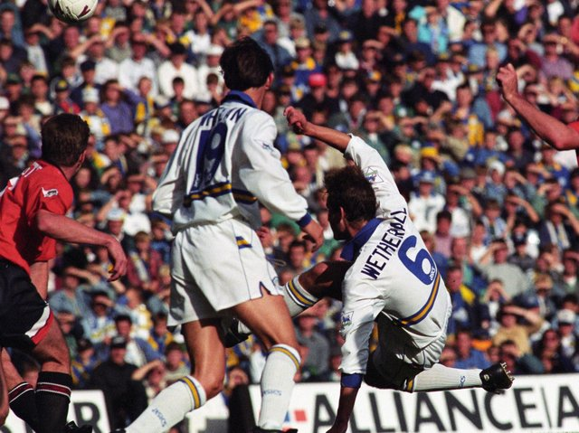David Wetherall scores against Manchester United at Elland Road in September 1994. Brian Deane also scored in a 2-1 win. PIC: Varley Picture Agency