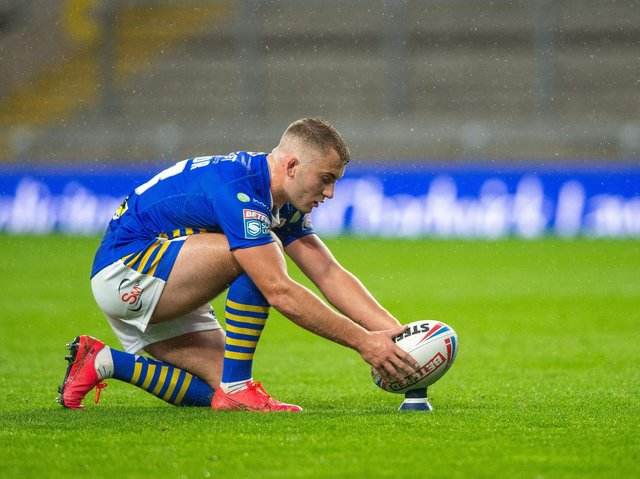 Jarrod O'Connor made his Rhinos debut last September, kicking a goal in a Super League loss to Catalans Dragons. Picture by Bruce Rollinson.