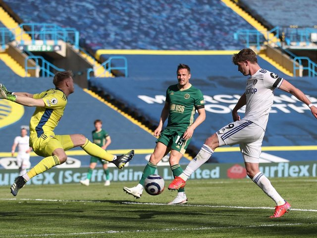 KEPT OUT: Leeds United striker Patrick Bamford, right, during last weekend's 2-1 victory against Sheffield United at Elland Road. Photo by Carl Recine - Pool/Getty Images.