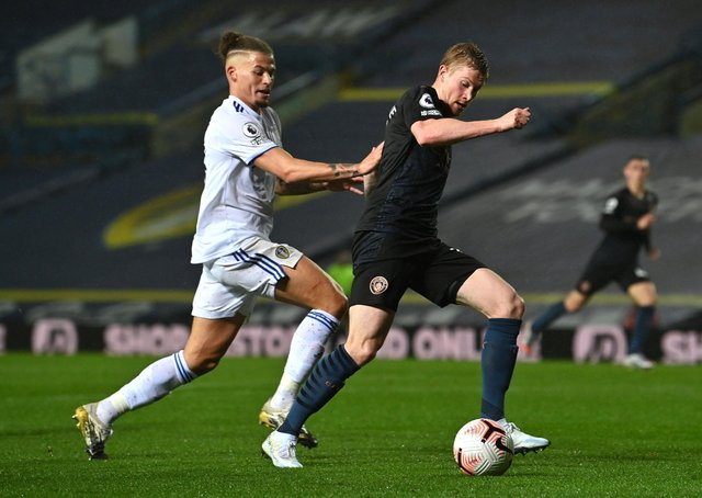BATTLE: Leeds United's Kalvin Phillips and Manchester City's Kevin De Bruyne battle for the ball during October's 1-1 draw between the sides at Elland Road. Picture: Paul Ellis/PA Wire.