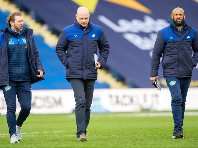 Rhinos boss Richard Agar, centre and Sean Long, left - pictured with another assistant-coach Jamie Jones-Buchanan - were on opposite sides last time Saints won the Cup. Picture by Bruce Rollinson