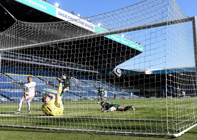 Sheffield United's Phil Jagielka scores an own goal during the match at Elland Road. Picture: Laurence Griffiths/PA Wire.