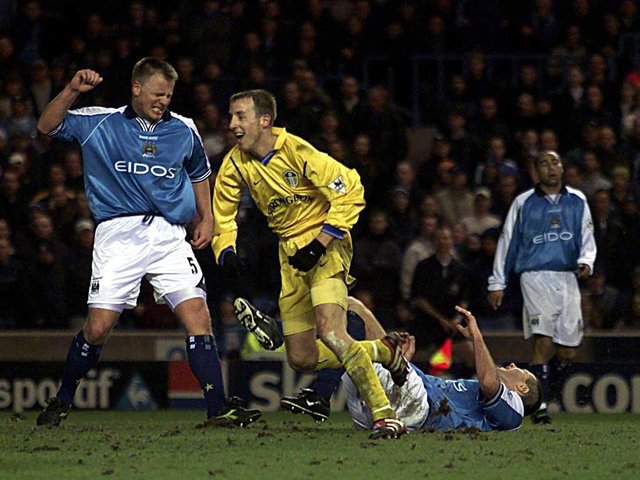 BIG MOMENT: Lee Bowyer races away to celebrate after putting Leeds United 2-0 up with ten minutes left of the Premier League clash against Manchester City at Maine Road of January 2001. Picture by Gary M. Prior/ALLSPORT via Getty Images.