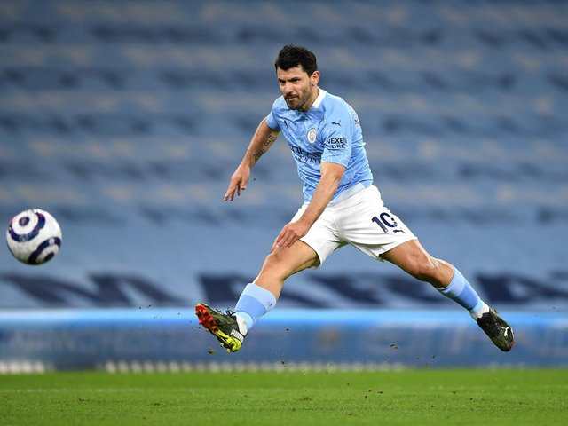 OUT IN FRONT: Sergio Aguero, above, is considered Manchester City's chief goal threat against Leeds United but eight City players are rated more likely to net first than Whites no 9 Patrick Bamford. Photo by Gareth Copley/Getty Images.