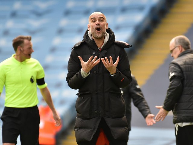 FRUSTRATION: Manchester City boss Pep Guardiola during Saturday's 2-1 defeat against ten men Leeds United at the Etihad. Photo by Rui Vieira - Pool/Getty Images.