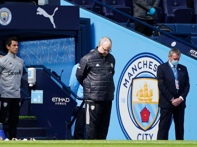 RESPECTS: From Leeds United head coach Marcelo Bielsa to remember His Royal Highness Prince Philip, The Duke of Edinburgh during a two minutes' silence at the Etihad. Photo by Tim Keeton - Pool/Getty Images/