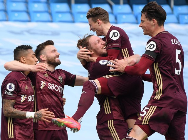 Leeds United celebrate Stuart Dallas' last-gasp winner at Manchester City. Pic: Getty