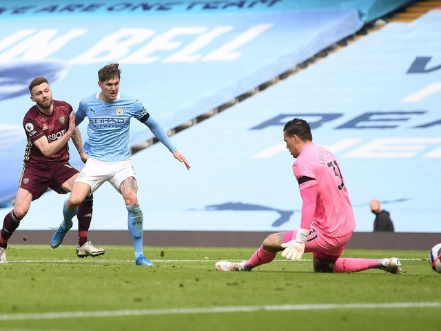 ICE COOL: Stuart Dallas calmly slots home a 91st-minute winner in Saturday's Premier League clash at runaway leaders Manchester City. Photo by Michael Regan/Getty Images.