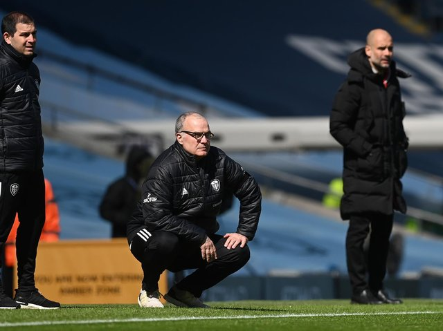 Leeds United head coach Marcelo Bielsa watches on at Manchester City. Pic: Getty