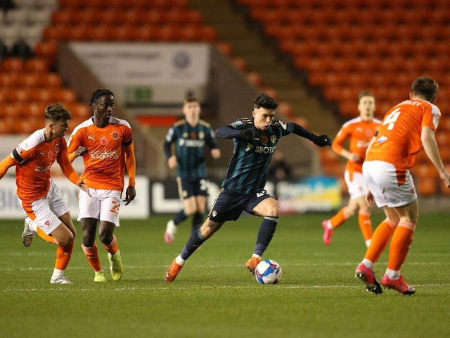 STUNNER: From young Leeds United forward Sam Greenwood, centre. Photo by Charlotte Tattersall/Getty Images.