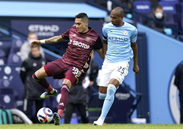 BATTLE: Leeds United's Raphinha and Manchester City's Fernandinho battle for the ball. Picture: Tim Keeton/PA Wire.