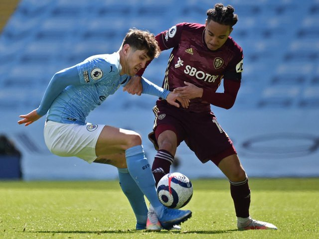 NUISANCE: Helder Costa, right, proved a big problem for Manchester City in their attempts to break Leeds United down in Saturday's clash at the Etihad. Photo by RUI VIEIRA/POOL/AFP via Getty Images.