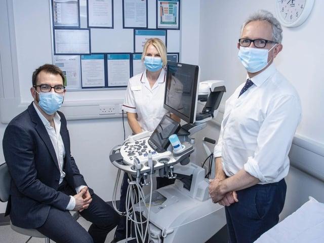 Dr. Oliver Hulson, consultant radiologist, Spire Leeds Hospital, Jayne Pears, radiology manager, Spire Leeds Hospital, and Justin Ash, CEO Spire Healthcare.