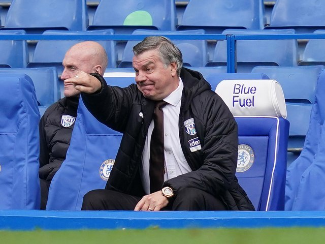 ONLY 'DANGERS': West Brom, managed by Sam Allardyce, above, are the only side in the dropzone who could mathematically overhaul Leeds United but only given an extremely unlikely set of results. Photo by John Walton - Pool/Getty Images.